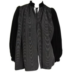 VIntage 1970s Yves Saint Laurent Black Velvet Russian Collection 1976 Jacket