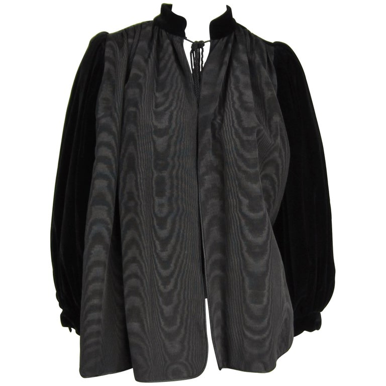 VIntage 1970s Yves Saint Laurent Black Velvet Russian Collection 1976 Jacket  For Sale