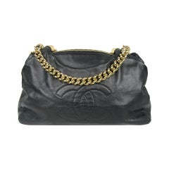 Stunning Chanel Black Lambskin Gold Chain Handbag