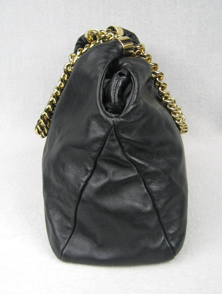dfdf37532d2a Stunning Chanel Black Lambskin Gold Chain Handbag In Excellent Condition  For Sale In Wallkill