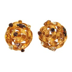 Massive Dominique Aurientis Crystal Earrings New, Never Worn 1980s