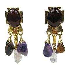 Philippe ferrandis Multi Stone Maltese Amethyst Dangle earrings 1990s
