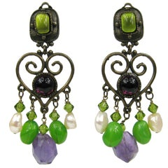 Massive Philippe Ferrandis Amethyst & Pearl Chandelier earrings