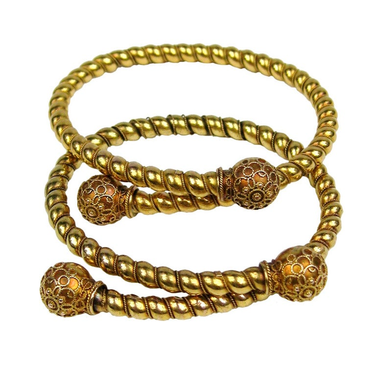 Pair of Gold Antique Victorian Wrap Bracelets 1882 Fourth of July For Sale
