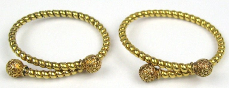 Georgian Pair of Gold Antique Victorian Wrap Bracelets 1882 Fourth of July For Sale