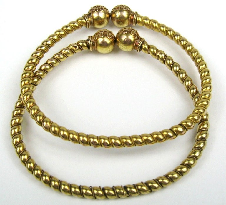 Women's Pair of Gold Antique Victorian Wrap Bracelets 1882 Fourth of July For Sale