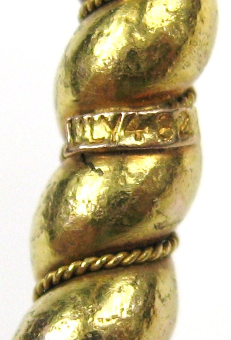 Pair of Gold Antique Victorian Wrap Bracelets 1882 Fourth of July For Sale 2