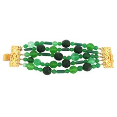Vintage Dominique Aurientis Green Glass Bracelet 1980's New Never worn