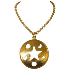 Celine Gold Gilt Star Moon Cut Out Disc Necklace Never worn