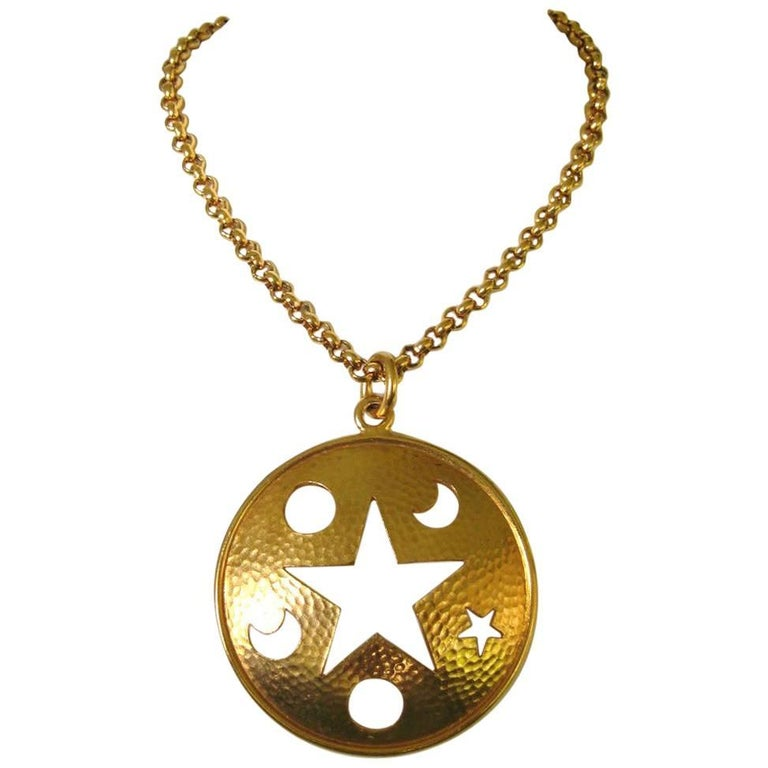 Celine Gold Gilt Star Moon Cut Out Disc Necklace Never worn  For Sale