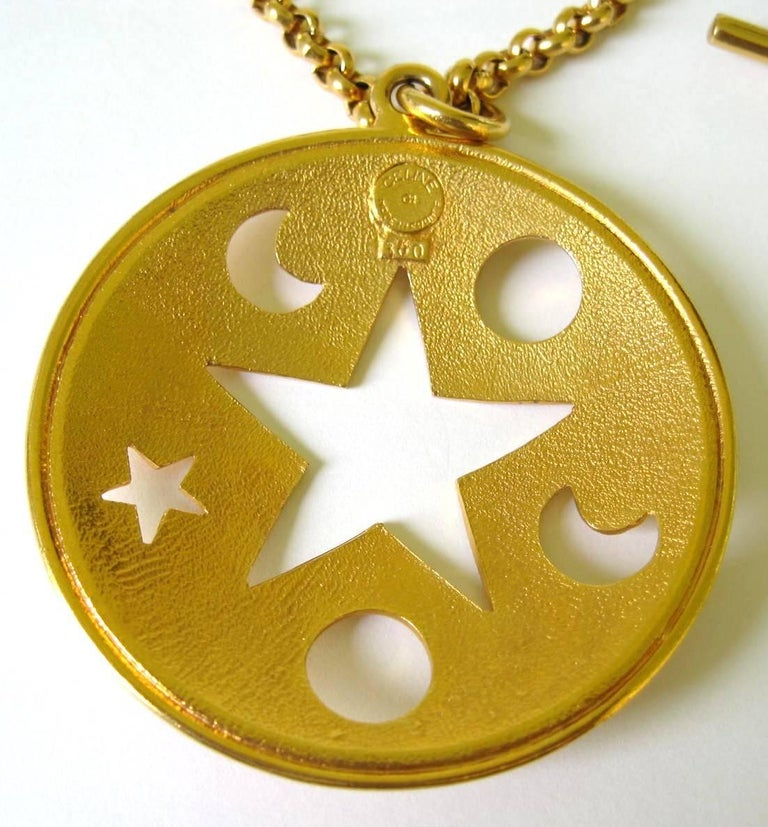 Women's Celine Gold Gilt Star Moon Cut Out Disc Necklace Never worn  For Sale