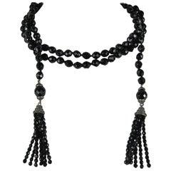 Flapper French Black Jet Glass beads lariat SAUTOIR Necklace