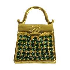 Karl Lagerfeld Gold Gilt and Glass Handbag brooch New, Never Worn 1990s