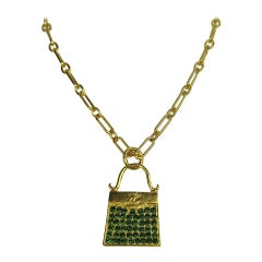 1990s Karl Lagerfeld gold Gilt and Glass Handbag Necklace New - Never worn