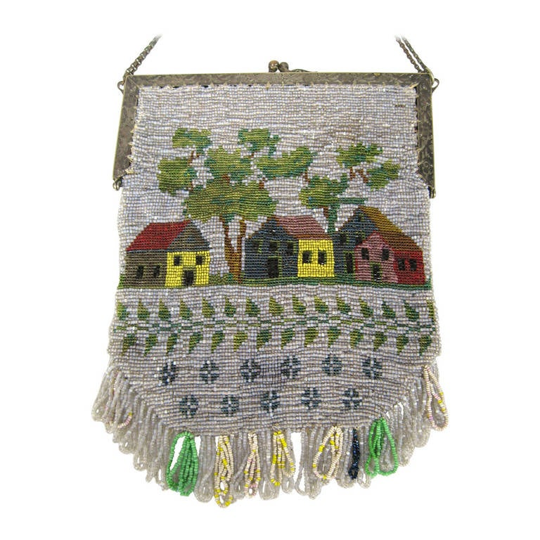 1920s Folk art americana Beaded Flapper bag