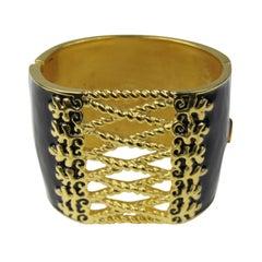 Karl Lagerfeld Black Enamel Gold Corset Bracelet New never worn 1990's
