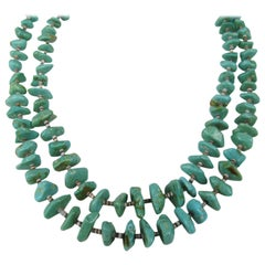 Old Pawn Double Strand Turquoise & Heishi Shell Sterlling Silver Necklace