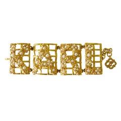 """1990s Karl Lagerfeld """"KARL"""" Gold Gilt Pearl Bracelet New Never worn"""