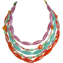 1990s Philippe Ferrandis Glass Layered Bib Necklace New Never worn