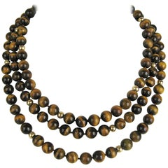 Tiger's Eye & Gold beaded Long Necklace