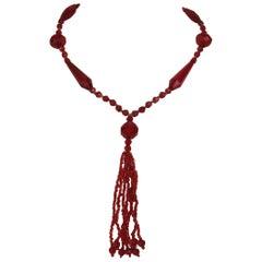 1920's Flapper Glass Red sautoir Necklace Art Deco