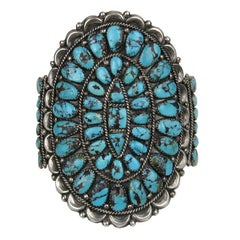 Native American Zuni Sterling Silver Turquoise Bracelet