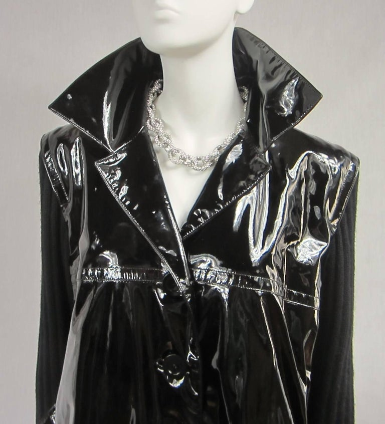 Yves Saint Laurent YSL Patent Leather and Wool Jacket 1990's  In Excellent Condition For Sale In Wallkill, NY