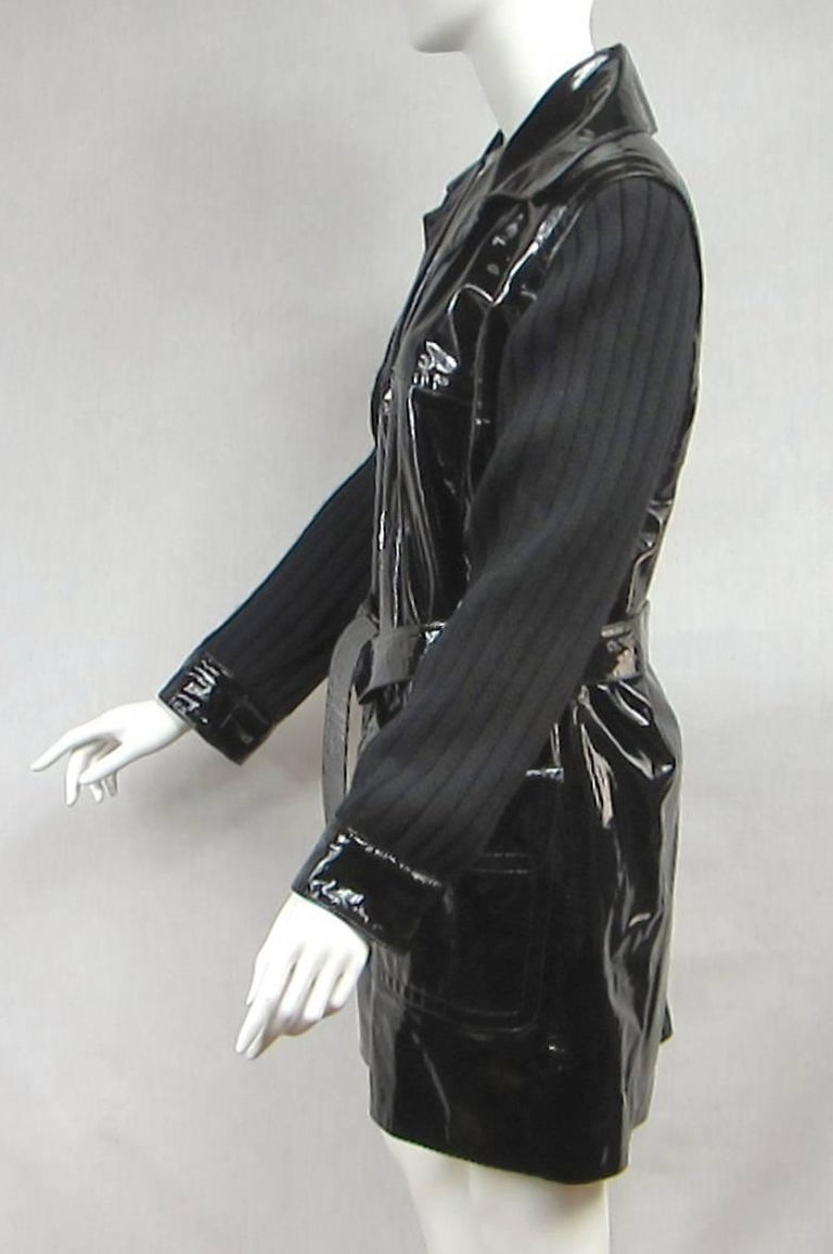 Yves Saint Laurent YSL Patent Leather and Wool Jacket 1990's  For Sale 1