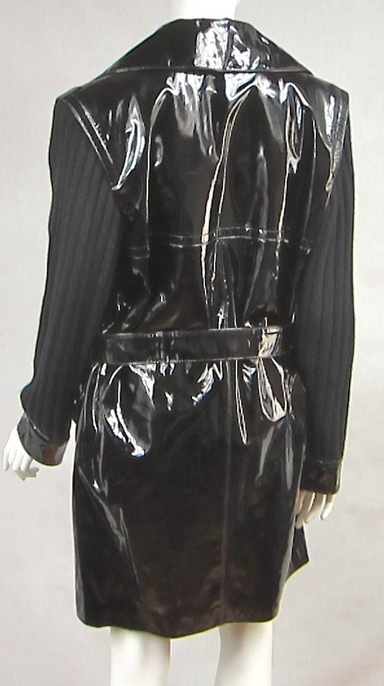 Yves Saint Laurent YSL Patent Leather and Wool Jacket 1990's  For Sale 2