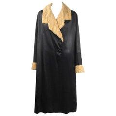 Vintage Edwardian Silk Ermine Fur Duster Coat