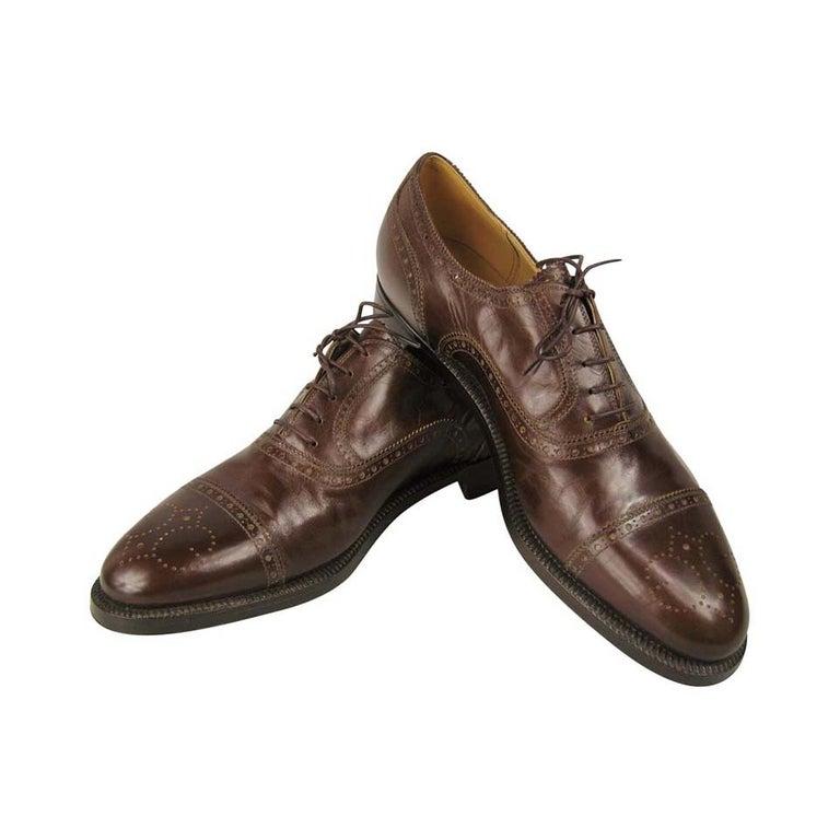 Brown 1970s Gucci Wingtip Oxfords Men's Shoe