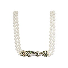 Ciner Crystal Double Strand Zebra Necklace Goldtone 1980s Never Worn