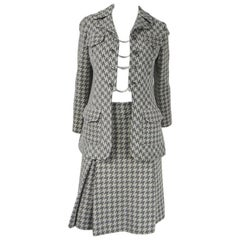 Vintage 1970's Houndstooth Wool Skirt Suit Made in France Goutille