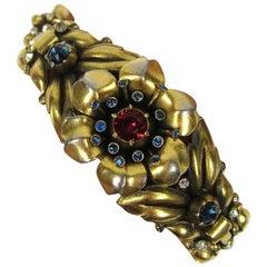 1939 Alfred Philippe Trifari Pave Floral Trembler Bracelet
