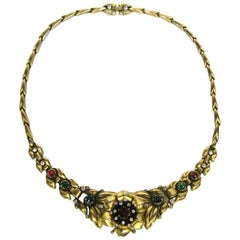 1939 Alfred Philippe Trifari Pave Floral Trembler Necklace