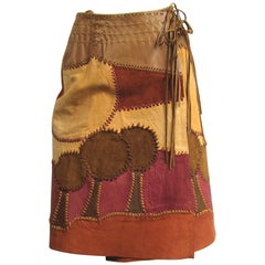 Vintage 1960s Char Leather Wrap Boho Festival Skirt