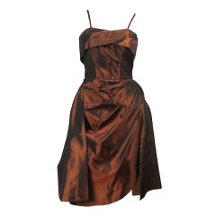 1950s Emma Domb Metallic Copper Wiggle Dress Vintage
