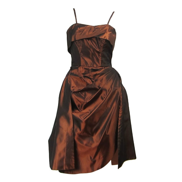 1950s Emma Domb Metallic Copper Wiggle Dress Vintage