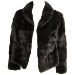 Luxurious horizontal Ranch Mink Fur Cropped Jacket Shrug Coat XS By M Blaustein