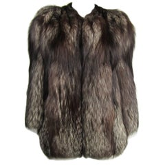 Stunning 1990s Silver Fox Fur Soft Supple Jacket