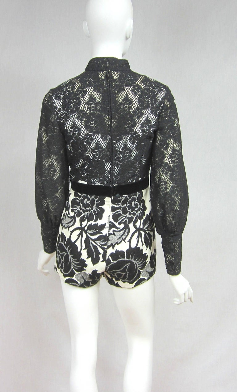 Vintage 1970's Black Hot Pants - Shorts & Wrap Maxi Skirt Mignon For Sale 1