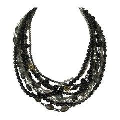 Stephen DWECK Sterling Multi 9 strand stone bib Necklace New, never worn 1990s
