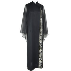 Vintage Black 1970s ALFRED SHAHEEN Asian Maxi Dress