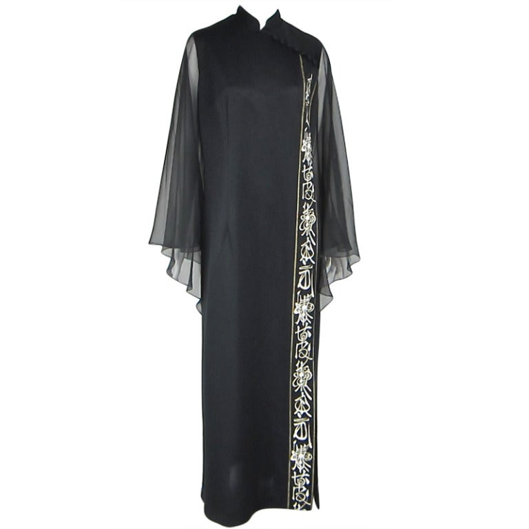 Vintage Black 1970s ALFRED SHAHEEN Asian Maxi Dress For Sale