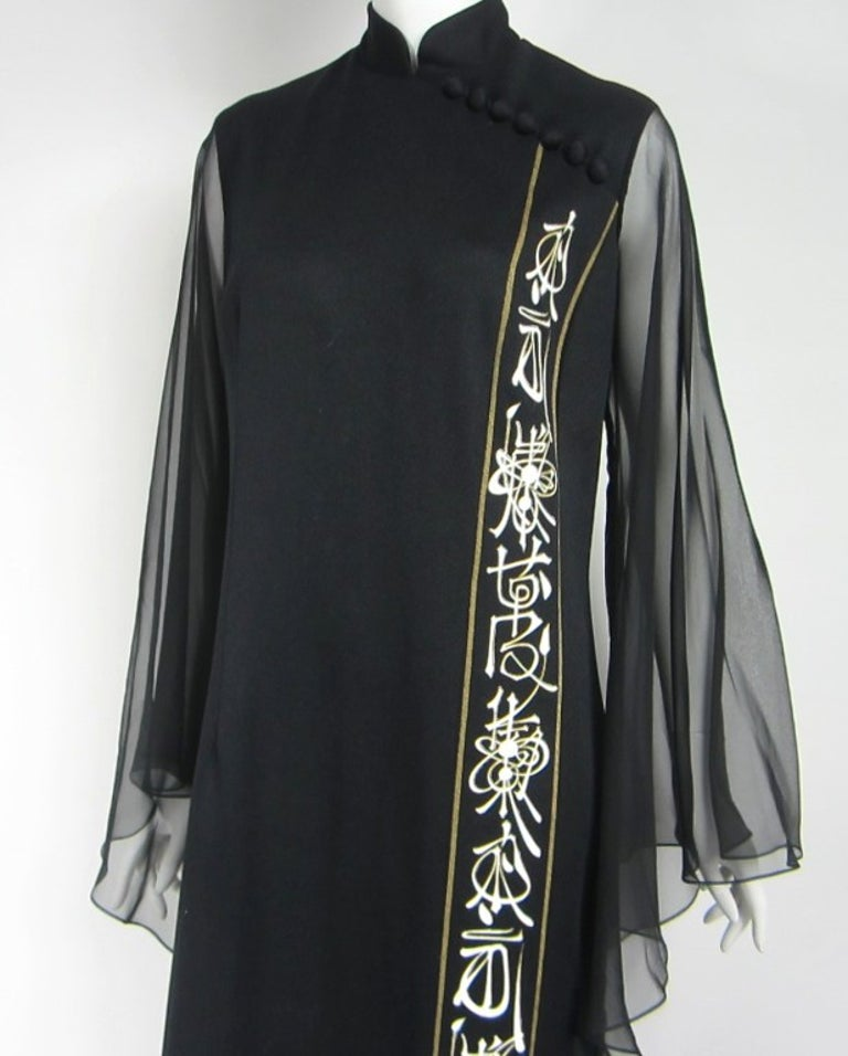 Alfred SHAHEEN MAXI Dress *Huge & Long ANGEL Sleeves *Hand Painted looking silk screening. buttons run diagonal down the front yoke. Mandarin  collar. Hook closure at the neck. Measurements as follows - BUST up to 40inches  up to WAIST 36inches - up