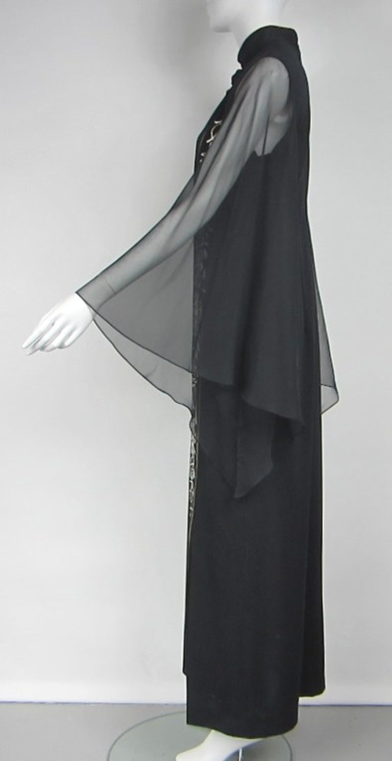 Vintage Black 1970s ALFRED SHAHEEN Asian Maxi Dress In Good Condition For Sale In Wallkill, NY