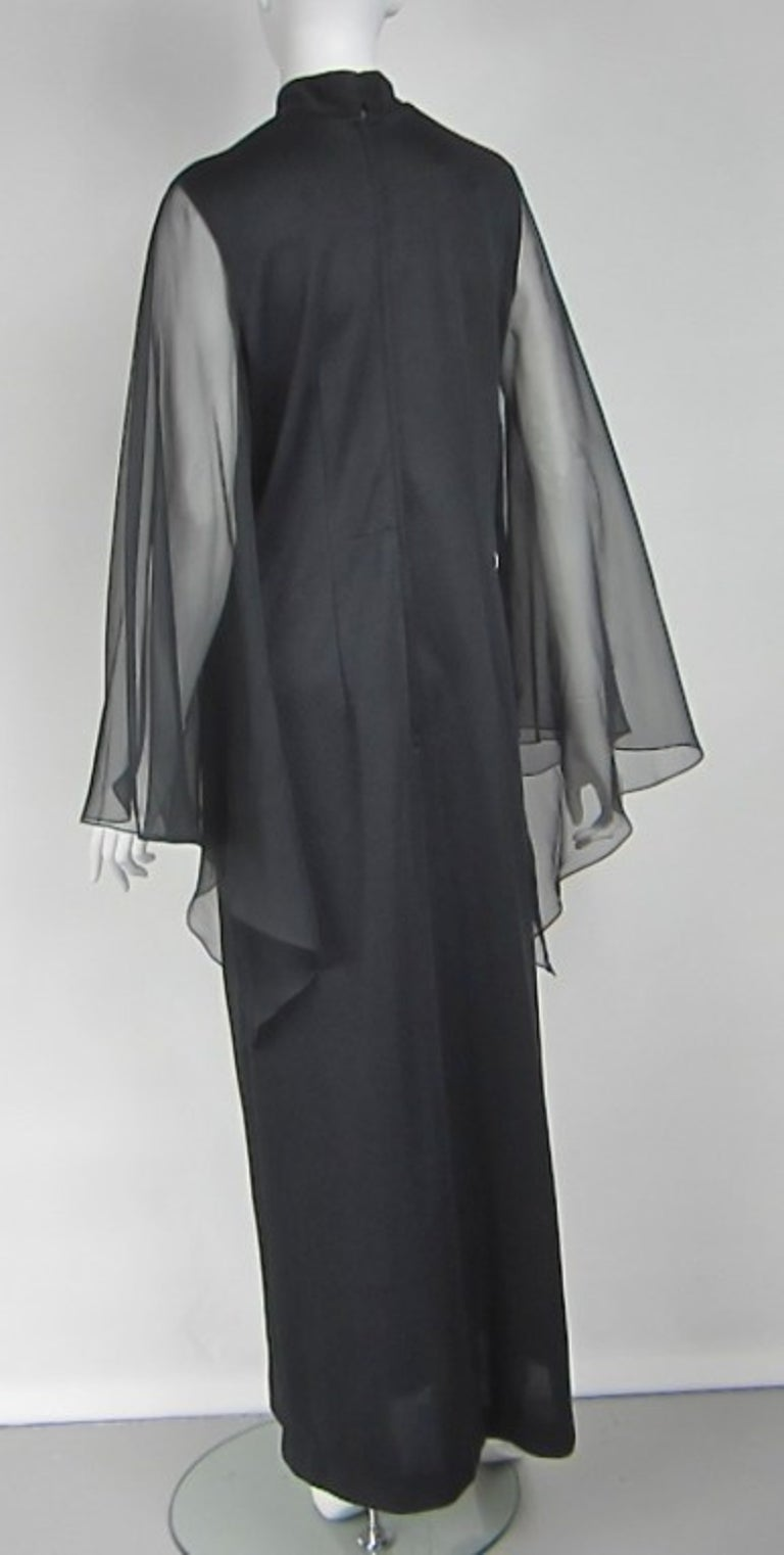Women's Vintage Black 1970s ALFRED SHAHEEN Asian Maxi Dress For Sale