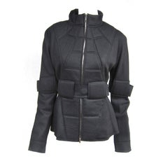 1990s Fendi Military Quilted Spaceage Black Jacket