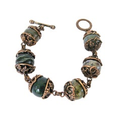 Stephen Dweck Beads Bronze Galle Caps Sterling Silver Bracelet 1990s