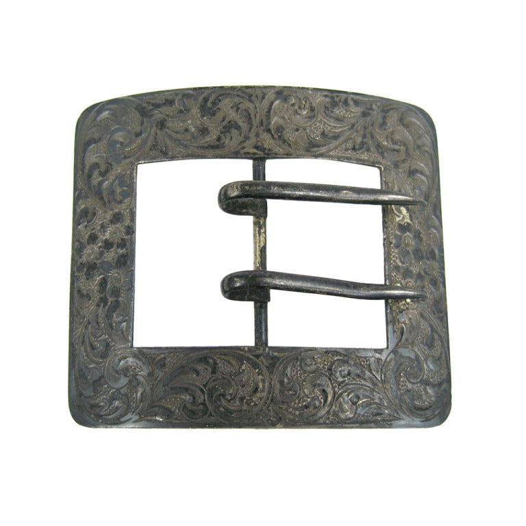 Antique Art Nouveau Sterling Silver Chased Belt Buckle For Sale